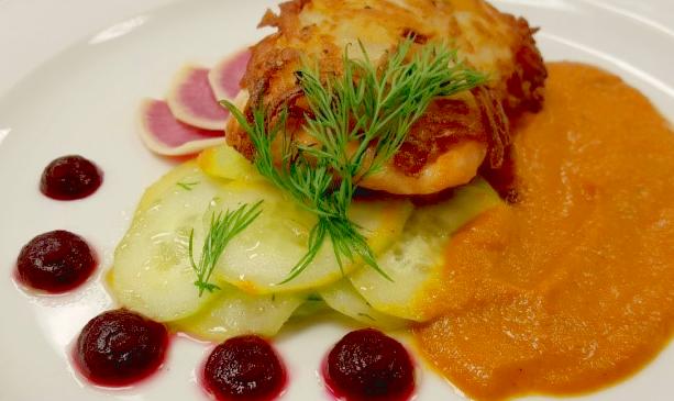 Potato-Crusted Salmon with Tomato Coulis